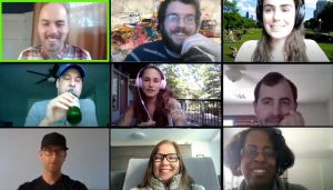 zoom faces on a remote virtual team building tour
