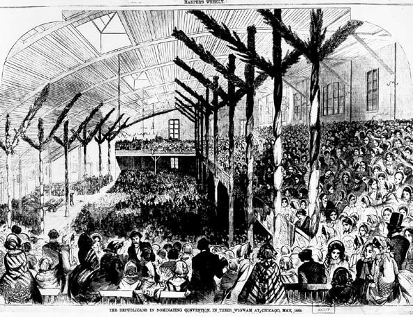 1860 Republican convention wigwam Abraham Lincoln presidential history in Chicago