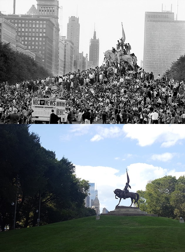 1968 DNC Logan Monument Chicago 1968 vs 2018