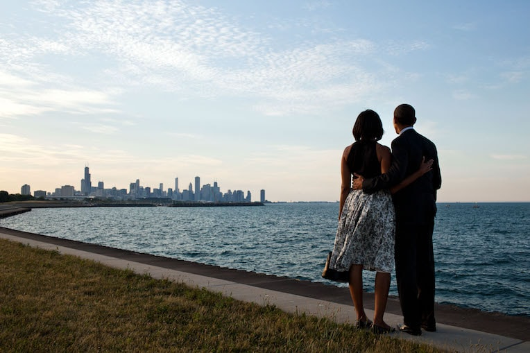 Barack Obama Day Chicago Skyline Promontory Point
