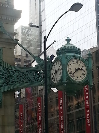 boston store ghost sign state street marshall fields clock