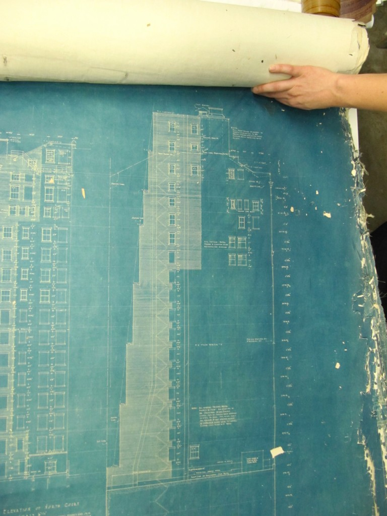 archival blueprint from union league club chicago
