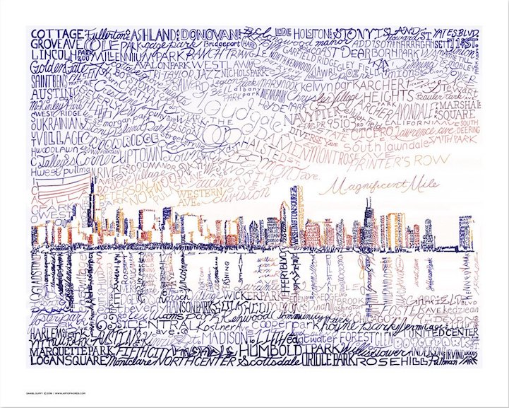 Chicago holiday gift guide 2017 word art skyline dan duffy