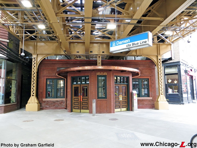 The station house at the Damen stop on the Blue Line after its 2014 restoration. (