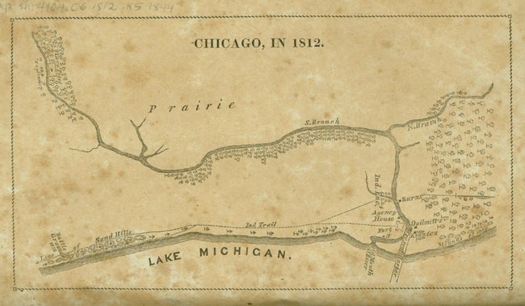 Illinois bicentennial Map of Chicago in 1812