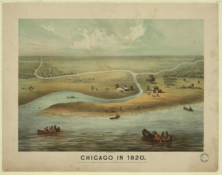 Illinois bicentennial Chicago in 1820 paiting