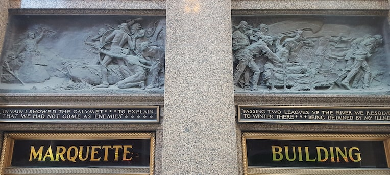 Marquette Building bronze relief sculptures front entrance