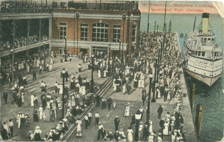 navy pier excursion steamers historic postcard chicago detours