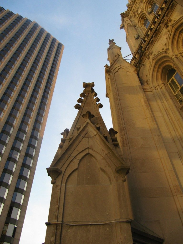 Chicago temple sky chapel turrets