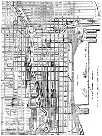 Chicago flood 1992 Chicago Tunnel system map 1910