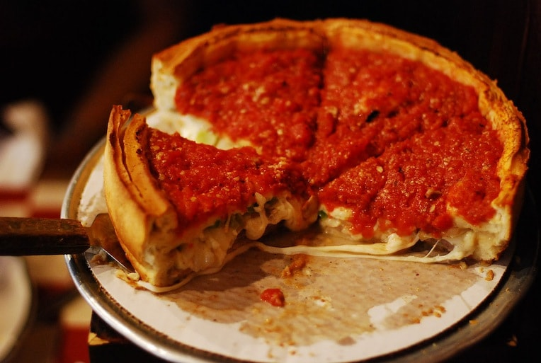 famous Chicago food history deep-dish pizza