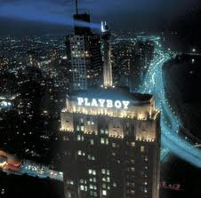 Hugh Hefner in Chicago Playboy sign Palmolive Building
