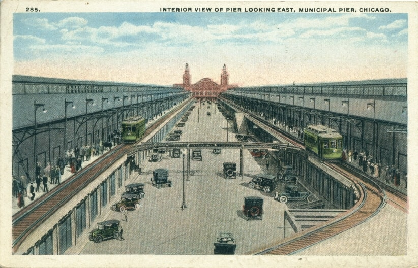 navy pier interior view historic postcard chicago detours