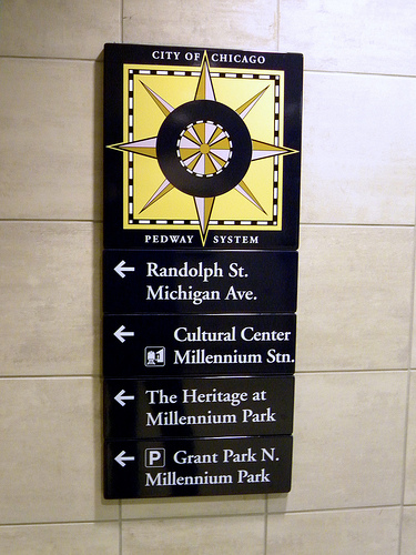 Pedway Sign chicago history research