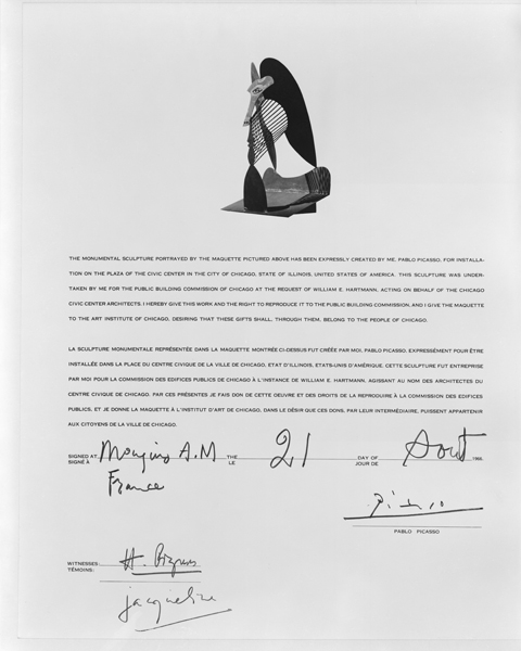 Letter of Authenticity, Signed by Pablo Picasso. Image from Chicago History Museum chicago history and architecture