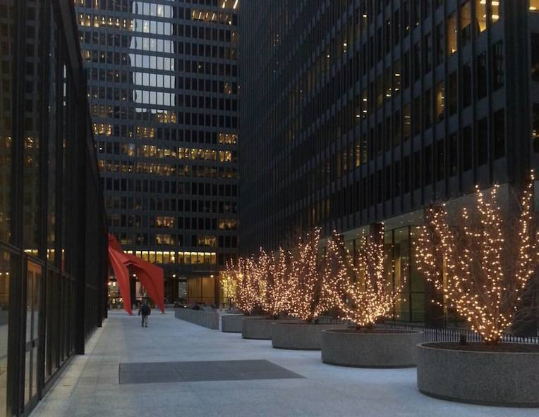 five reasons to visit Chicago in winter Federal Plaza Calder Flamingo Mies van der Rohe