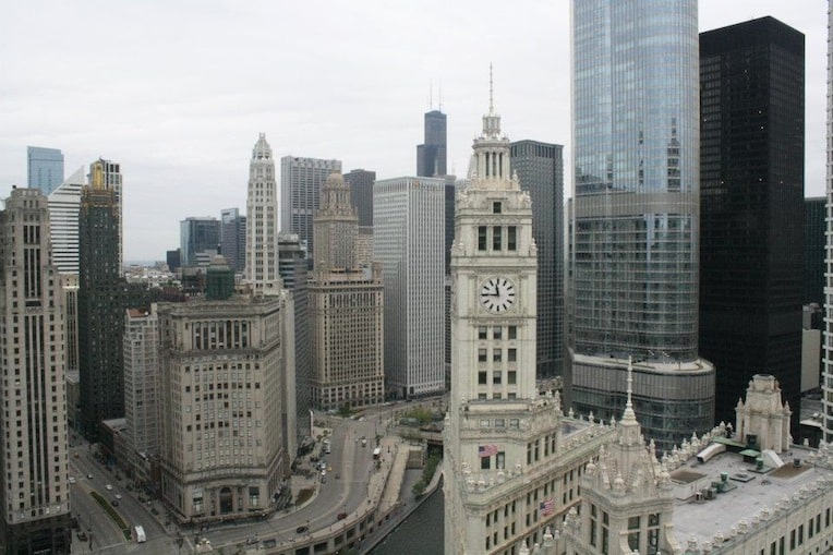 Tribune Tower view from the penthouse