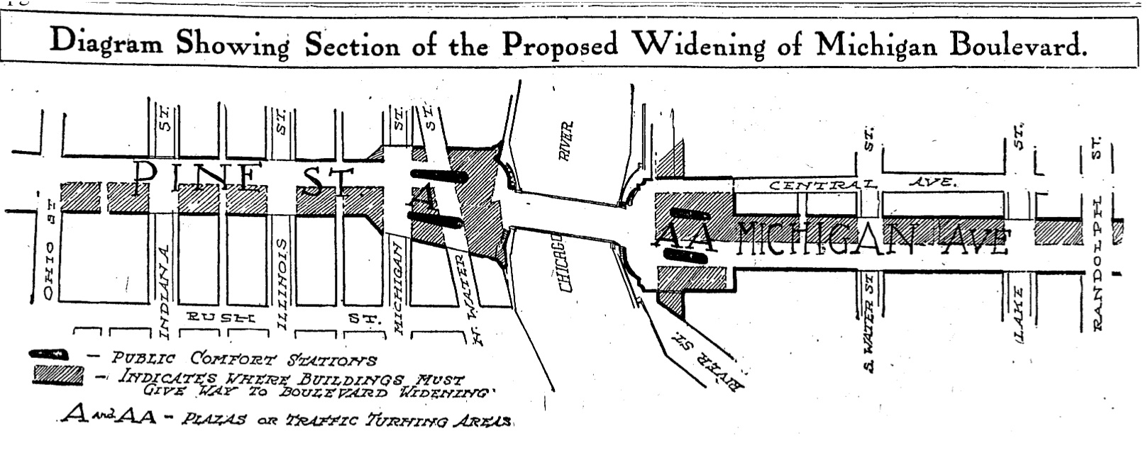 Proposal to widen Pine Street to become North Michigan Ave. Picture from Historic Chicago Tribune, 1911.