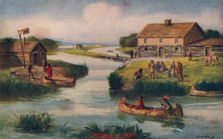 wolf point Chicago 1833 painting