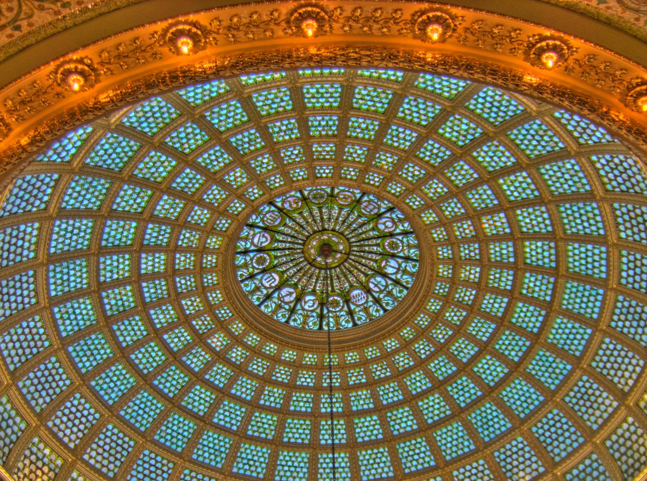 Chicago architecture zodiac cultural center tiffany dome