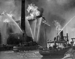 Chicago fireboat 1940s Chicago River grain elevator fire