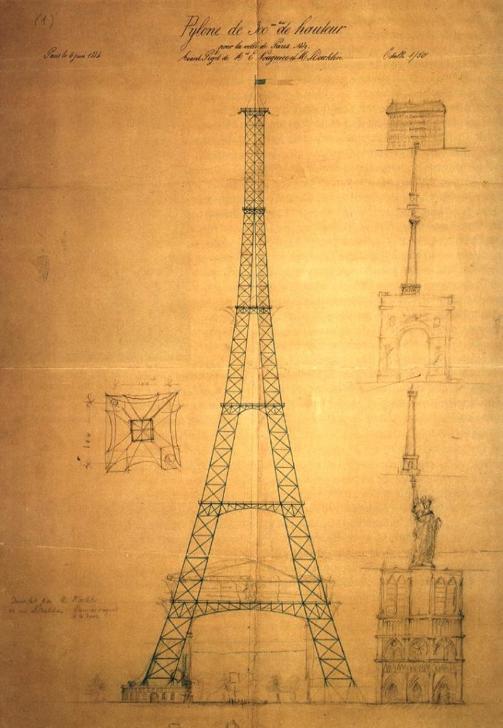 Eiffel Tower sketch height comparison
