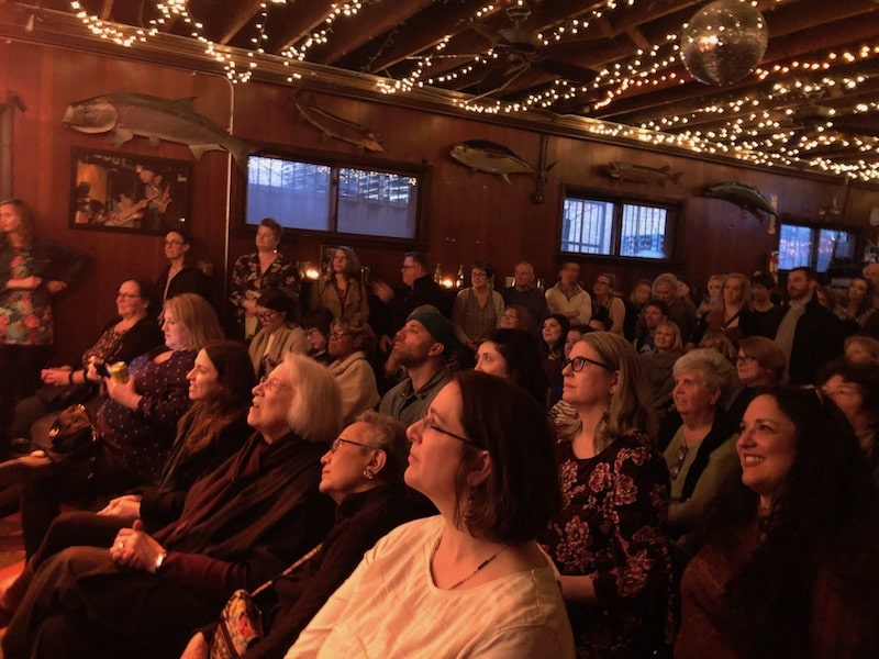 crowd at hideout for badass women chicago history