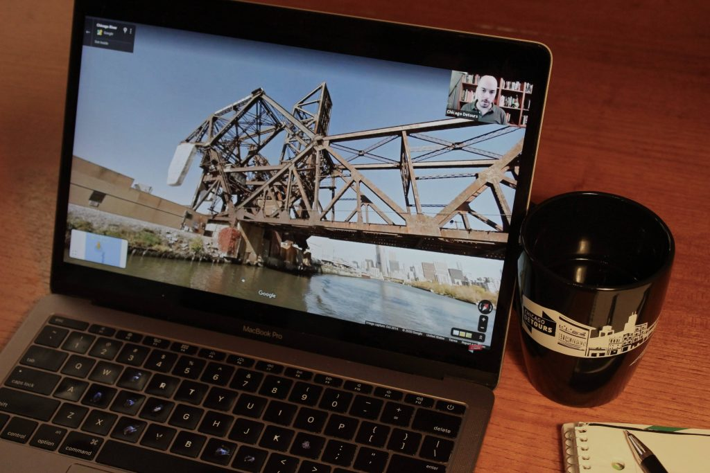 virtual event on chicago river boat on laptop virtual event team building virtual events